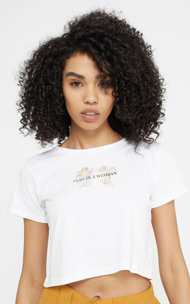 God Is A Woman Feminist Cherub Graphic T Shirt Crop Top by Rani & Co. Product photo