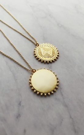 Large Gold Lunar Engraved Disc on Gold Chain Necklace by Gold Lunar
