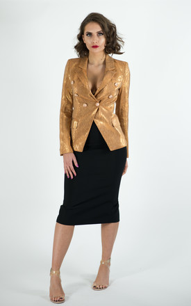 ADIOR GOLD DOUBLE BREASTED BLAZER JACKET by IVY EKONG FASHION