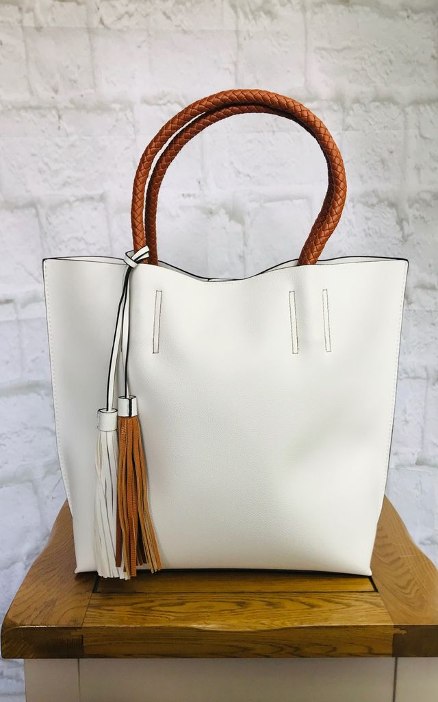 White and Tan Tassel Tote by Pink Lemonade Boutique