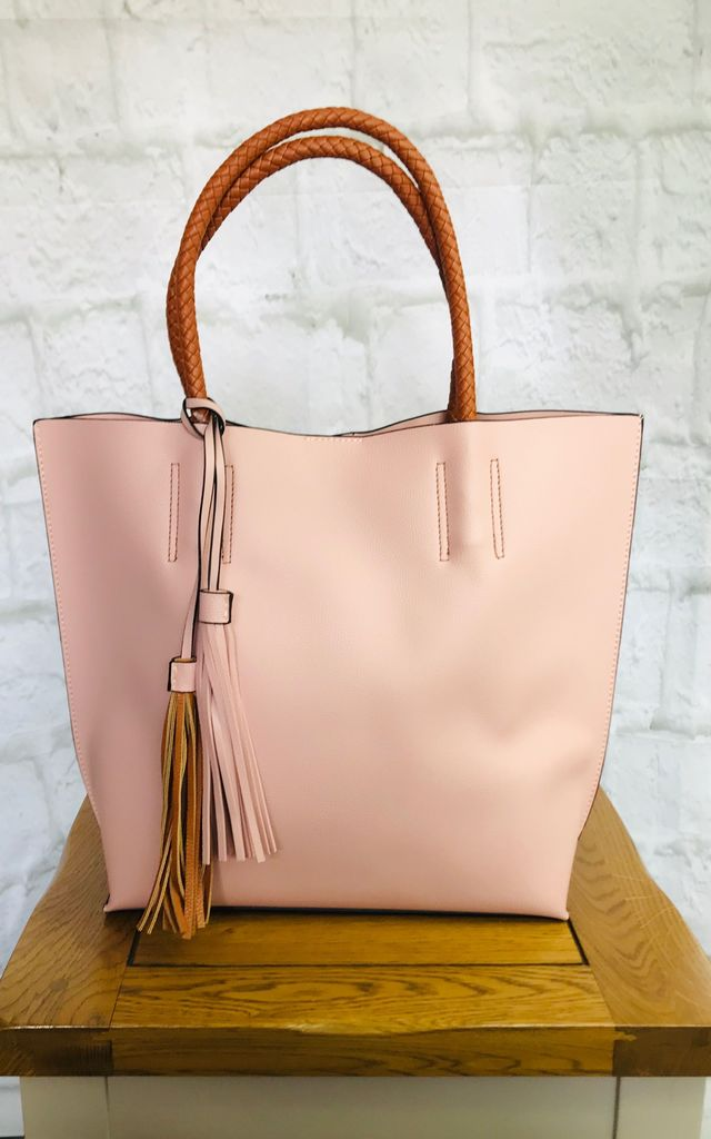 Pink and Tan Tassel Tote by Pink Lemonade Boutique