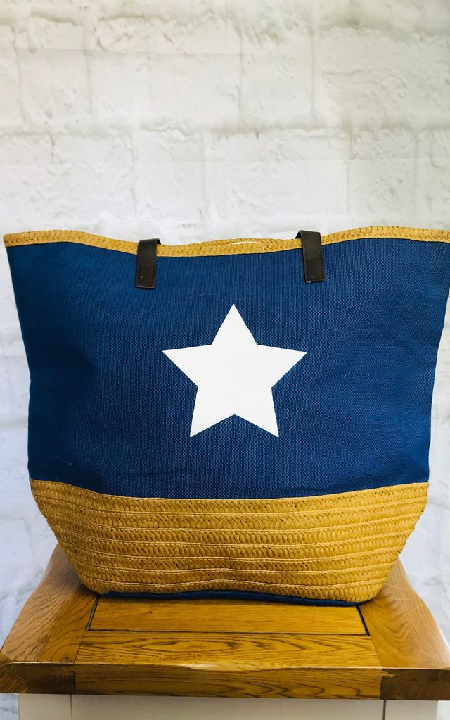 Star Large Beach Bag (Blue) by Pink Lemonade Boutique