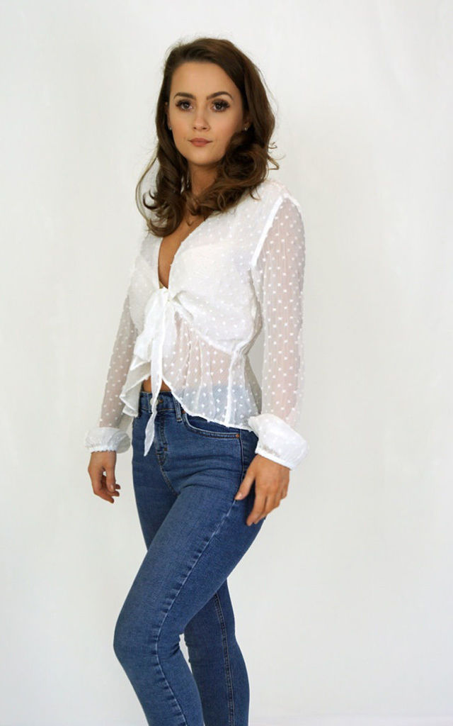 White Textured Tie Up Blouse by Styled Clothing