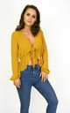 Textured Tie Up Blouse (Mustard) by Styled Clothing