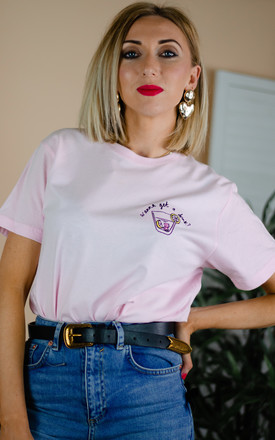 Wanna Go For Drinks Embroidered T Shirt - Pink by Rock On Ruby