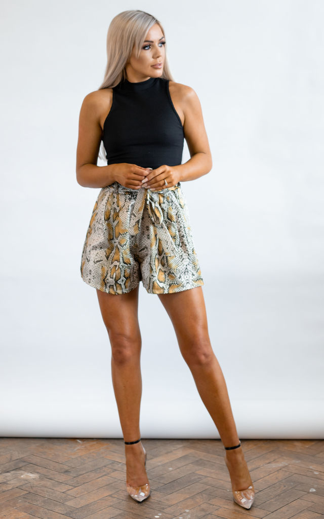 Eve Yellow Snake Print Shorts by Brand Moda