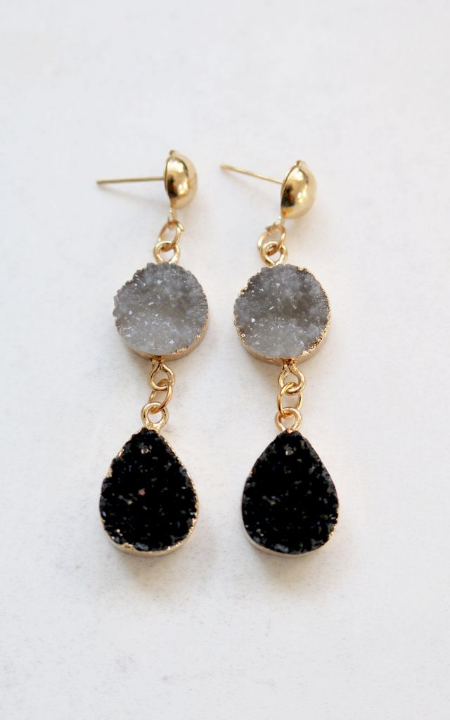 Aurora Grey Druzy Earrings by AVAAYA