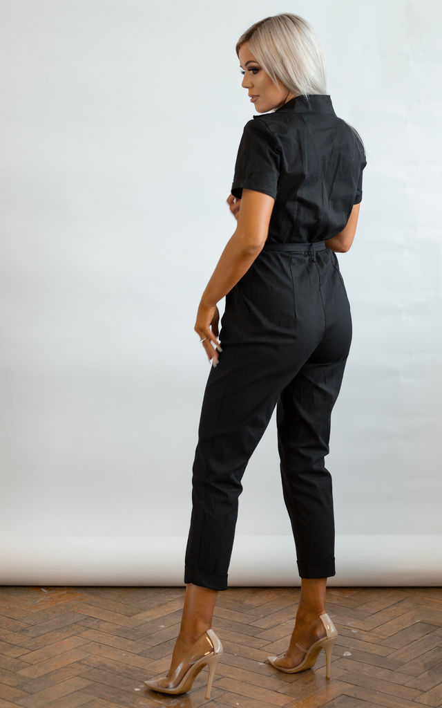Lori Black Utility Jumpsuit in Black by Brand Moda