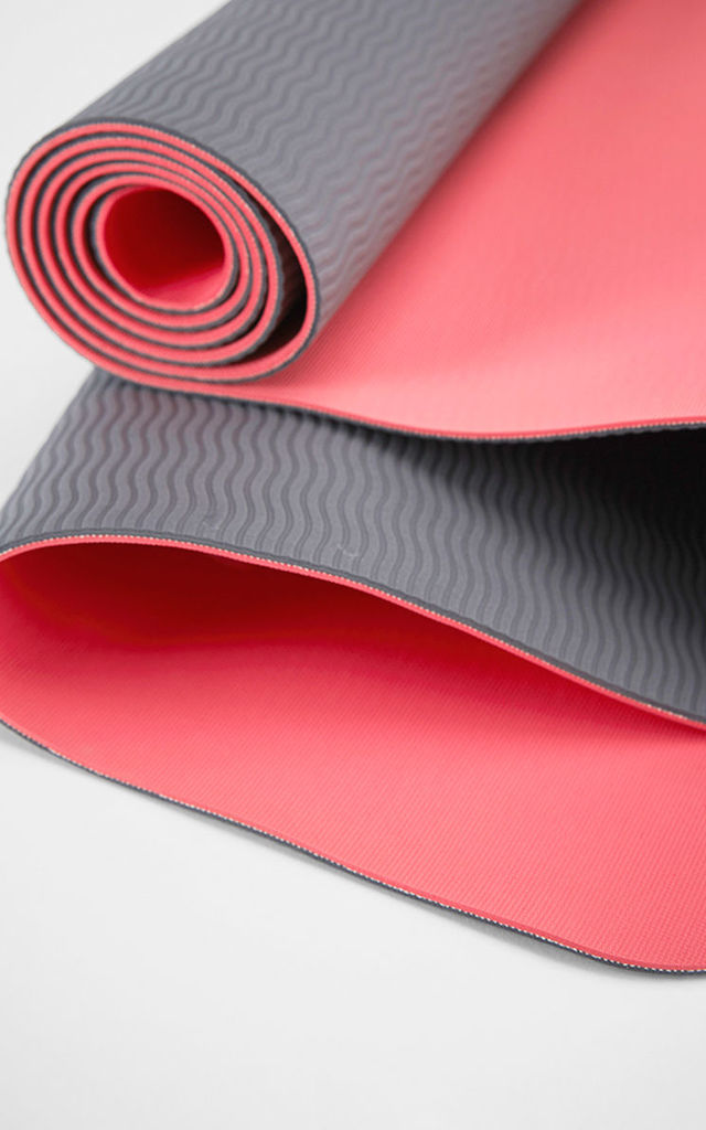 Coral/Grey Eco Lite Reversible Yoga Mat by Calmia
