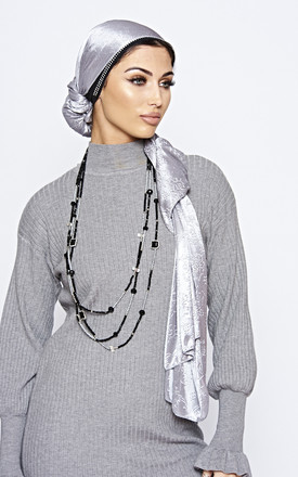 Silver Floral Embossed Luxe Textured Scarf by The ModestMe Collection