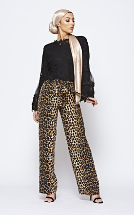 Leopard Print Trousers With Tie Waist by The ModestMe Collection