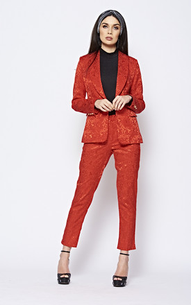 Red Patterned Tailored Luxe Suit by The ModestMe Collection