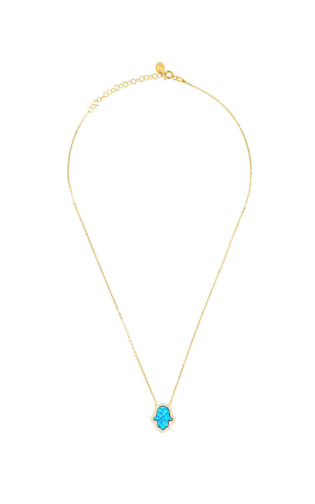 HAMSA HANDS NECKLACE TURQUOISE GOLD by Latelita