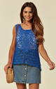 Sleeveless Crochet Vest Top in Blue Floral Design by CY Boutique