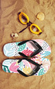 Flip Flops in Bright Tropical Floral Multicolour Print by Art Wow