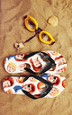Flip Flops in David Bowie Inspired Colourful Print by Art Wow