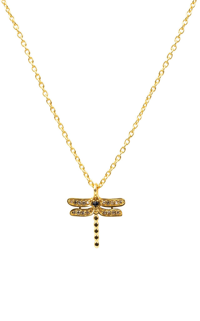DIAMOND AND SAPPHIRE DRAGONFLY NECKLACE GOLD by Latelita