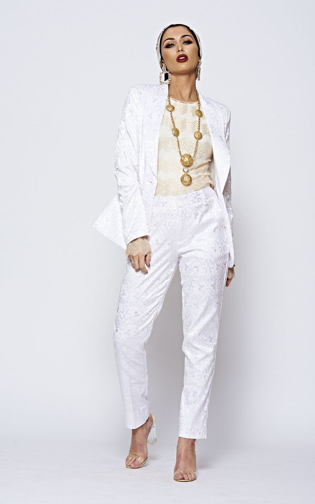 White Patterned Tailored Luxe Suit by The ModestMe Collection