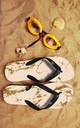 Flip Flops in Pink & Gold Marble Print by Art Wow