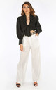 White Belted Wide Leg Trouser by Dressed In Lucy