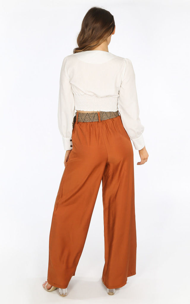 Tan Belted Wide Leg Trouser by Dressed In Lucy