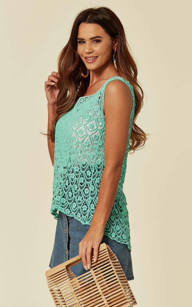 Sleeveless Crochet Vest Top in Green Floral Design by CY Boutique