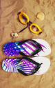 Flip Flops in Purple Palm Print by Art Wow