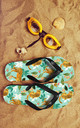 Flip Flops in Green Cheetah Jungle Print by Art Wow