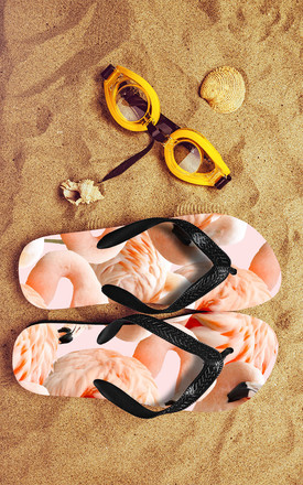 Flip Flops in Blush Pink Flamingo Print by Art Wow