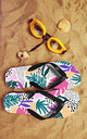 Flip Flops in Floral Tropical Multicolour Print by Art Wow