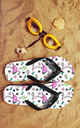 Flip Flops in Tropical Flamingo Print by Art Wow