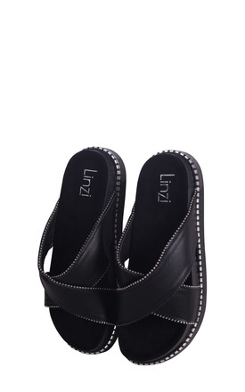 Justify Black Nappa Slip On Flatform Slider With Studded Crossover Front Strap by Linzi