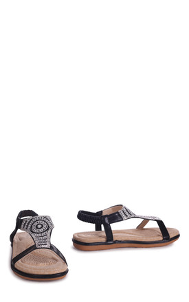 May Black Nappa Sandal With Padded Inner & Diamante Front Detail by Linzi