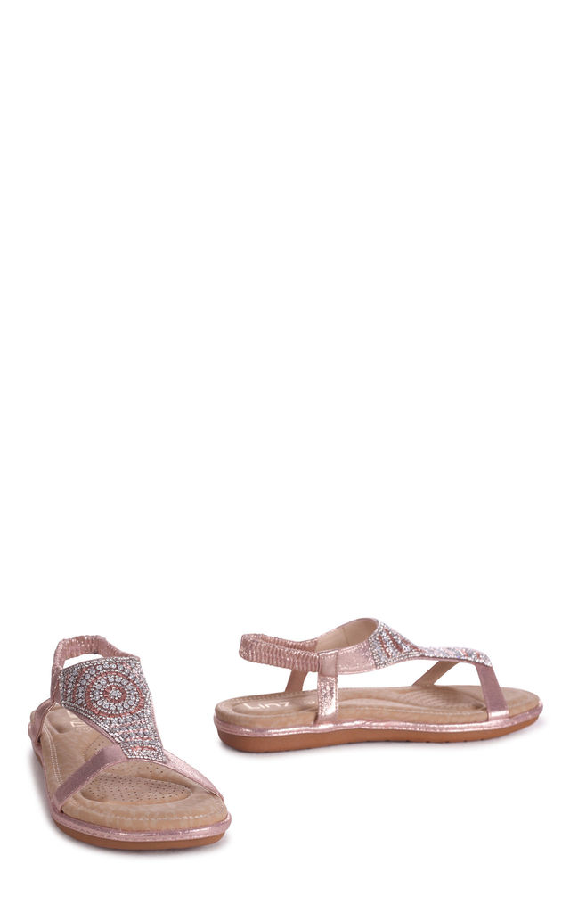 May Rose Gold Nappa Sandal With Padded Inner & Diamante Front Detail by Linzi