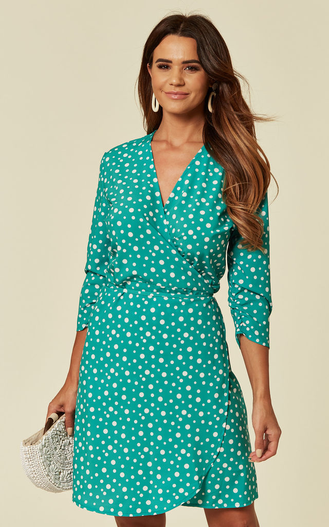 fc2d84a84d Wrap Mini Dress In Green And White Polka Dot by Kate   Pippa