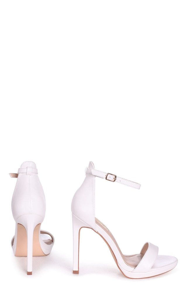 Gabriella White Faux Leather Barely There Stiletto Heel With Slight Platform by Linzi
