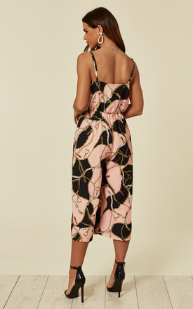 Clara Culotte Pink Blush Chain Print Jumpsuit by Love