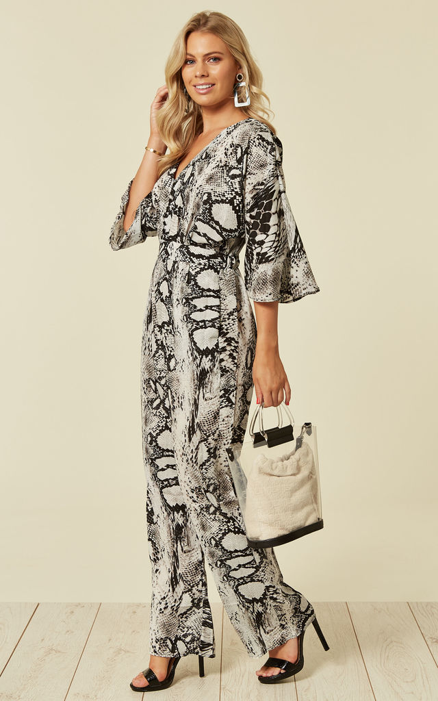 EMELY  - Kimono Sleeve Button Front Snakeskin Print Jumpsuit by Blue Vanilla