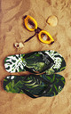 Flip Flops in Green Palm Jungle Print by Art Wow