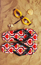 Flip Flops in Orange and Red Heart Print by Art Wow