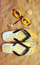 Flip Flops in Gold Marble Print by Art Wow
