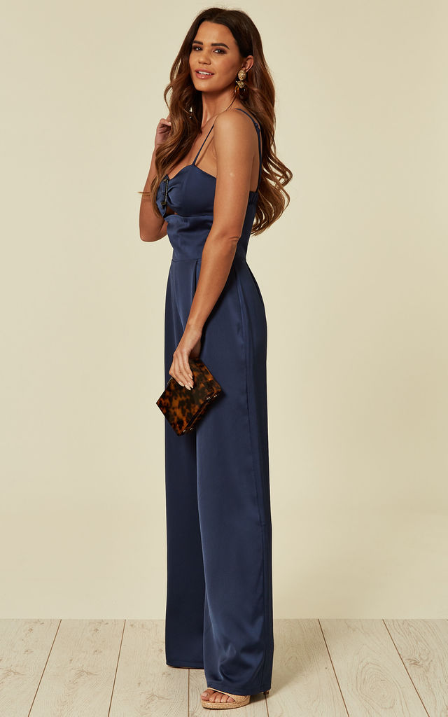 Ana Navy Satin Jumpsuit with Buckle Detail by Love