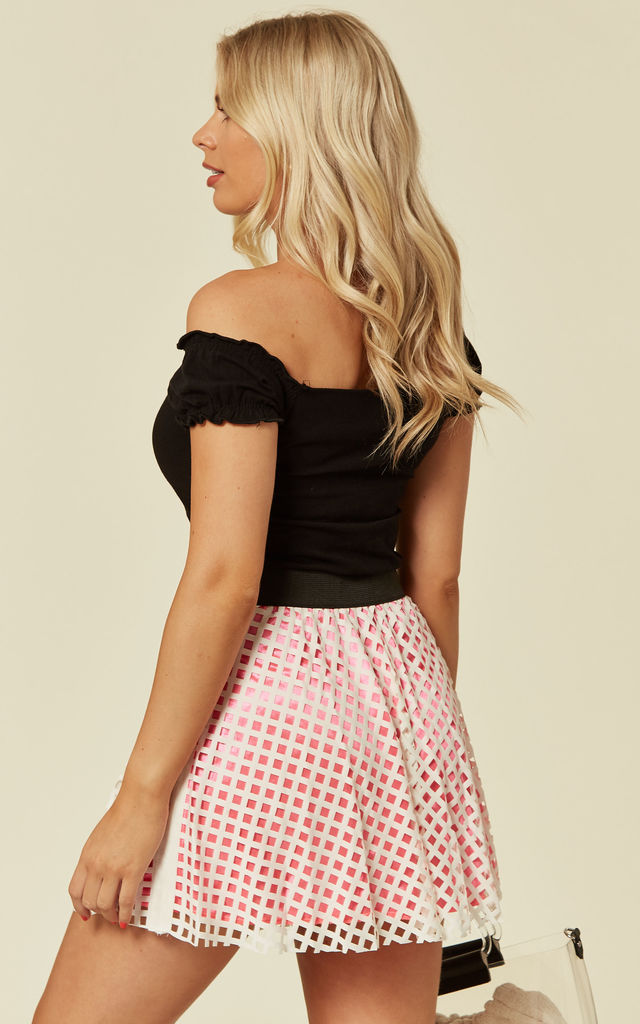 Mesh Summer Mini Skirt in White/Pink by CY Boutique