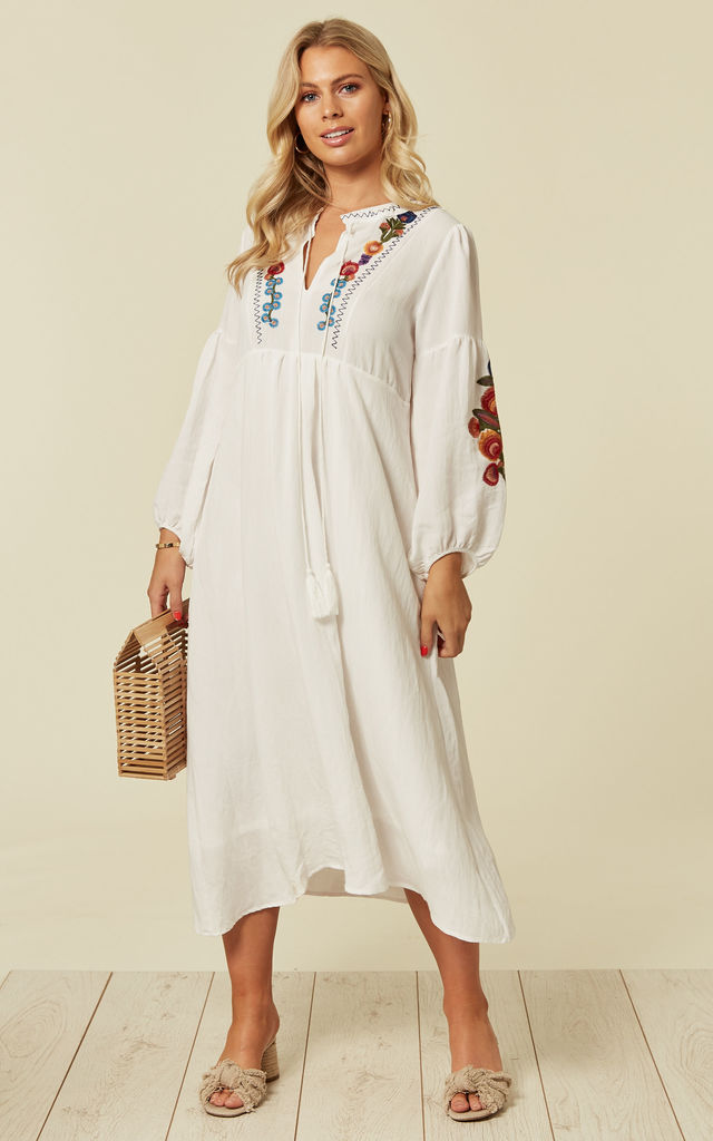 4f4444e6060d Long Sleeve Linen Maxi Dress with Floral Embroidery in Cream by CY Boutique