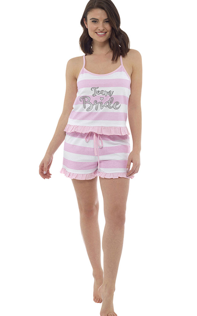 eb47798e7c7 Team Bride Ruffle Shorts and Cami Wedding Pyjama Set in Pink and White by  BB Lingerie