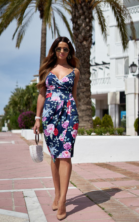 Bodycon Midi Wrap Dress In Navy Floral by Bella and Blue Product photo
