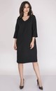 Loose Midi Dress with V-Neck and 3/4 Sleeve in Black by Bergamo