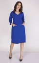 Loose Midi Dress with V-Neck and 3/4 Sleeve in Blue by Bergamo
