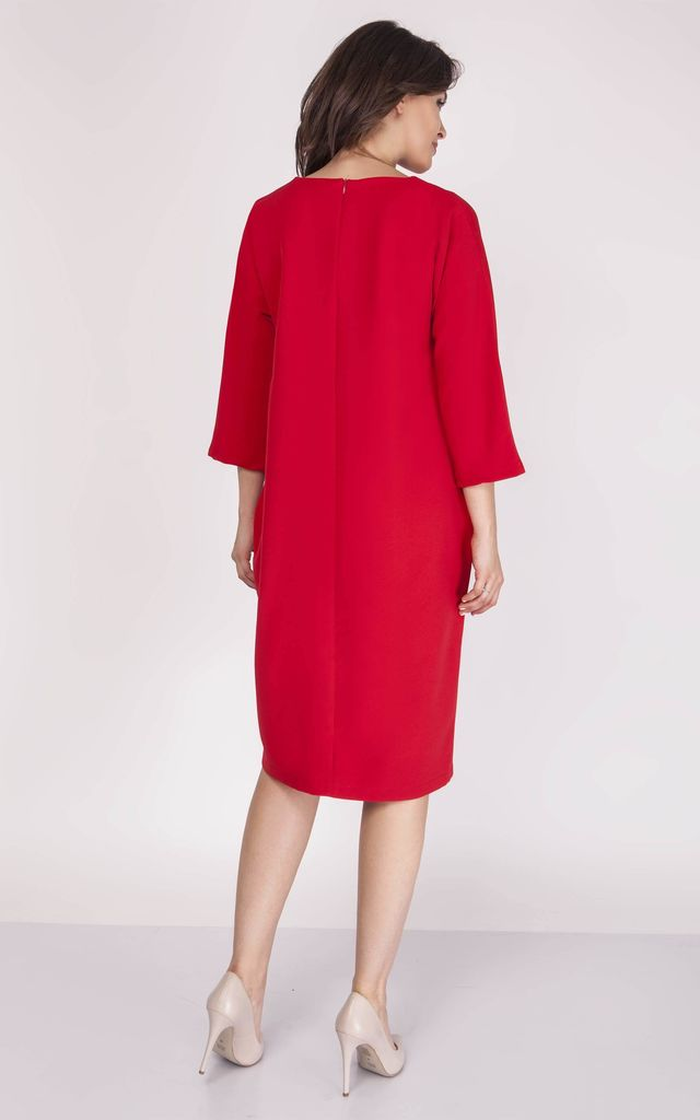 Loose Midi Dress with V-Neck and 3/4 Sleeve in Red by Bergamo