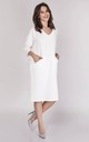 Loose Midi Dress with V-Neck and 3/4 Sleeve in White by Bergamo